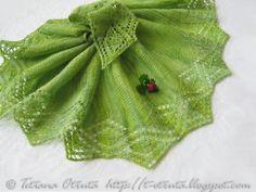 Lace hand knit shawl green gift scarf  women  triangular by Otruta, $99.00