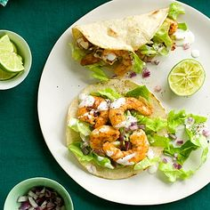 Shrimp Tacos with Lime Creme...use full-fat sour cream and all-natural tortillas (make your own) and your meal is as natural as can be :)