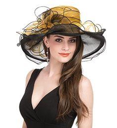 Saferin Women s Royal Fascinator Organza Church Kentucky Derby Wedding  Party Hat Black and Grey at Amazon 430b0977c1e4