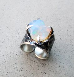 Fire Opal Flower Ring Paradise Crystal Divine by SilviasCreations, $240.00