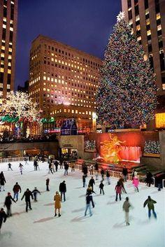 Ice Skating and Christmas Tree at Rockefeller Center, New York City, New York, USA