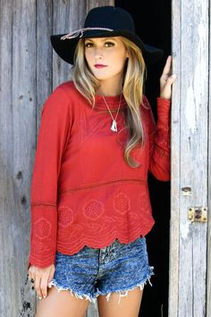 Tomato Gardens Red Embroidered Tunic Top With Drop Waist   Scalloped Hem b81d16a65
