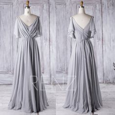 2016 V Neck Bridesmaid Dress with Sequin, Ruched Chiffon Bodycon Wedding Dress, Ruffle Sleeves Prom Dress, A Line Maxi Dress Floor (J019A)
