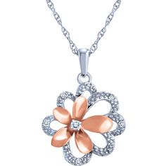 Sterling Silver Diamond Flower Pendant With Chain
