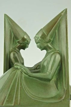 A Pair of Art Deco Bookends with Women Reading by Max Le Verrier