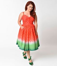 If you follow the rules, youll never have fun, dear! A delectable plus size swing dress, the Chateau Swing from Unique Vintage is an appetizing frock that begs for a stroll through a park. The gorgeous watermelon ombre print boasts a dramatic red with ad