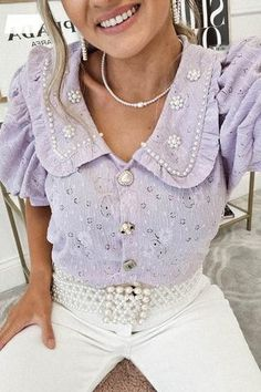 Oh Hello Clothing, Crochet Collar, Collar Top, Lilac, Ruffle Blouse, Fabric, Sleeves, Cotton, Clothes