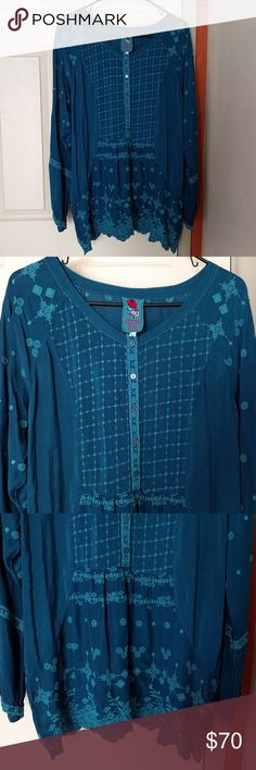 Johnny Was sheer tunic eyelet embroidery boho Beautiful tunic/blouse from Johnny Was. Size large. Excellent condition. It has embroidery throughout, with eyelets details. Blue-green color with matching embroidery. Johnny Was Tops Tunics