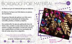 Se le llama así por el material del que se elabora y existen 3 tipos: en blanco, de gemas y de cordoncillo.