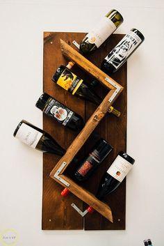 DIY Industrial Wall- Mounted Wine Rack