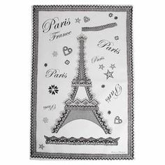 """Cotton tea towel with a Paris motif.  Product: Tea towel  Construction Material: Cotton Color: White    Features: Vintage French appeal  Dimensions: 28.5"""" x 19""""    Cleaning and Care: Machine washable"""