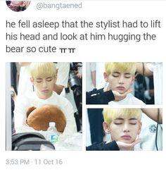 Awwww cutie Taetae X3 He need more sleep my poor baby ❤️❤️
