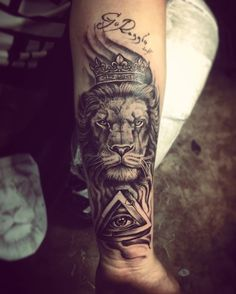 tatto Lion Forearm Tattoos, Forarm Tattoos, King Tattoos, Leo Tattoos, Badass Tattoos, Forearm Tattoo Men, Couple Tattoos, Animal Tattoos, Body Art Tattoos