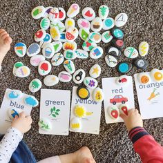 """Story telling & Colour Sorting with our Story Stones & Colour Flashcards.   I just love watching…"""