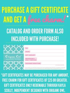 Gift Certificate | Loveable Lockets –   www.pamcoop.origamiowl.com