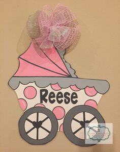 Baby Carriage Door Hanger Hospital Door Hangers, Baby Door Hangers, Wooden Hangers, Wall Hanger, Carriage Doors, Baby Carriage, Painted Signs, Wooden Signs, Deco Mesh Wreaths