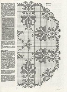 Gallery.ru / Фото #97 - θαλεια - ergoxeiro Filet Crochet Charts, Crochet Borders, Crochet Stitches Patterns, Crochet Diagram, Thread Crochet, Cross Stitch Patterns, Knitting Patterns, Crochet Curtains, Crochet Tablecloth