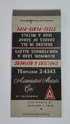ASSOCIATED METALS CO OF CALIFORNIA OAKLAND THE ARISTOCRAT #MatchBook Cover To order your business' own branded #matchbooks or #matchoxes GoTo: www.GetMatches.com or CALL 800.605.7331 to Get The Process Started Today!