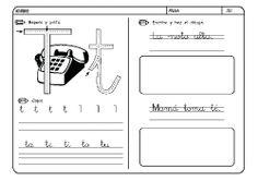 Fichas infantiles para aprender a leer y aprender a escribir con la letra T