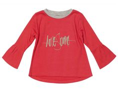 Baobab Red Awesome Top - $41.95 - And indeed she is AWESOME!  Stylish, retro inspired red girls long sleeve top by Baobab!  Made from super soft organic cotton knit fabric with ribbed neck, curved hem and flared sleeves!  Dress down with a funky pair of jeans or dress up with a stylish pair of leggings - the perfect outfit to take your little miss from play in the park to lunch with the ladies! #littlebooteek #girls #fashion #baobab