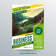 Шаблон бизнес-флаера с фотографией ландшафта Бесплатные векторы