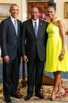 President Barack Obama and first lady Michelle Obama .Africa-state-dinner-prabal-gurung.