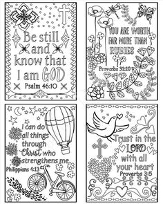 Bible verse cards - Coloring Scripture Cards - Christian coloring pages - Sunday school cards - Set of 8 Instant printable - memory verses Verses For Cards, Scripture Cards, Bible Coloring Pages, Adult Coloring Pages, Coloring Sheets, Bible Art, Bible Quotes, Religion, Strip
