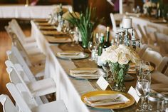 Rustic wedding. Mismatched centerpieces. Ivory. Burlap table runners. Gold and Silver. Place settings. Lakefront wedding. Fishing themed wedding.   Chelsey and Andrew  Photos by Simply Rose Photography http://simply-rose.com