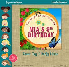 Tropical Rainforest Tropical Beach Luau Party Birthday Favor Tags Party Circles Theme Printable Beach Blonde Brunette AA Luau by sfmprintables