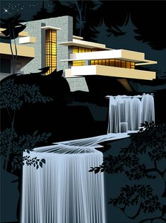 Mid-Century Modern Icons: Falling Water House by Frank Lloyd Wright Cades, Falling Water House, Falling Waters, Retro Futurism, Art And Illustration, Architecture Design, Architecture Panel, Drawing Architecture, Architecture Portfolio