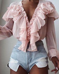 Pink Stylish Tops Autumn Ruffles Blouse Women Sexy V neck Long Sleeve Shirts Female Casual Buttons Street Blusas Plus Size XL – fashion Chiffon Ruffle, Ruffle Blouse, Ruffle Trim, Ruffles, Chiffon Shirt, Chiffon Tops, Long Sleeve Tops, Long Sleeve Shirts, Loose Shirts