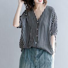 Elegant black striped cotton blended tops plus size holiday tops top  quality batwing Sleeve baggy v 56c9b4bddc4f