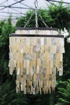 Large Capiz Shell Modern Chandelier Light Fixture Pearl SEASIDE COASTAL lamp  #Modern