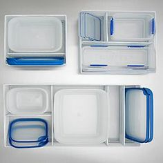 The Container Store White Mesh Food Storage Organizers. clean up the tupperware situation Food Storage Organization, Diy Organisation, Household Organization, Food Storage Containers, Storage Organizers, Organising, Storage Baskets, Storage Ideas, Tupperware Storage