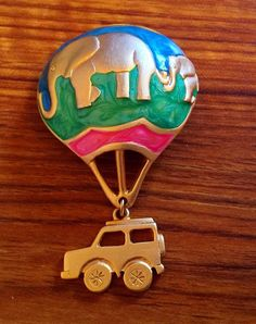 Signed Elephant Hot Air Balloon Brooch Enamel Gold Plated Signed Devine UNIQUE #Devine