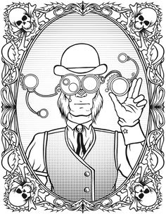 Creative Haven STEAMPUNK DEVICES Coloring Book § Coloring Page 3 SAMPLE  § Dover Publications