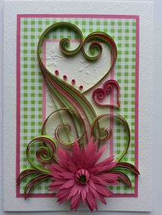 Birthday card with quilling technique.  ♦ Designed to sit vertically.  ♦ The card is packaged carefully to ensure a safe delivery.  ♦Size of card: 105