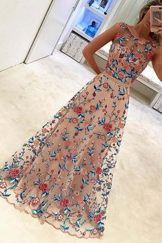 Browse Our Large Selection of Long Prom Dresses,Cheap Prom Dresses,Custom Made Prom Dresses,New Style Popular A Line Sleeveless Long Prom Dresses Formal Dress with Flowers at Simibridaldresses.com