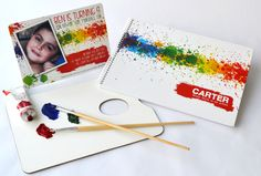 Paint Splatter design - this splashy design is available as an Invitation as well as a personalised Sketch pad. Best for Art Parties and beautiful gifts for budding artists - www.macaroon.co