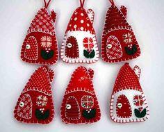 felt fabric christmas house ornament