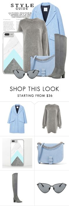 """""""OOTD - Blue Coat"""" by artbyjwp ❤ liked on Polyvore featuring MANGO, Treasure & Bond, Little Liffner, Nine West and Le Specs Luxe"""