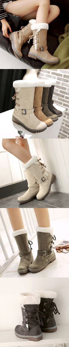 US$28.36 Buckle Fur Lining Mid Calf Flat Boots