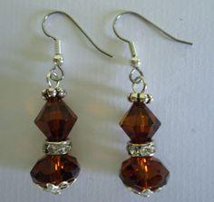 Earrings Brown Swarovski Crystal dangle earrings by Shabyas, $7.88