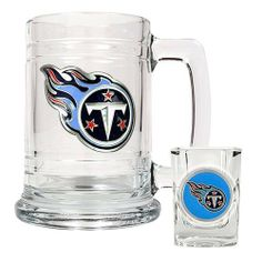 NFL Tennessee Titans Boilermaker Set (Primary Logo) by Great American Products. $25.00. The perfect compliment to your Bar or Game Room décor.. Decorated with hand-crafted Official Team Logos.. Handcrafted  high-quality metal logo. Classically designed 15oz Glass Mug and 2oz Shot Glass.