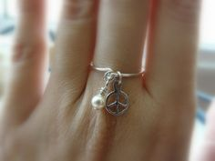 Peace sign ring Charm ring Silver ring Dainty ring by Lalinne, $20.00