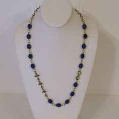 Bronze and Blue Lapis Long Chain Necklace by tbyrddesigns on Etsy, $29.00