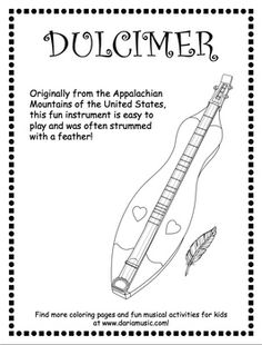Free coloring page for the Appalachian dulcimer, a stringed instrument heard in American folk music and played in the mountain regions of the Southern United States.