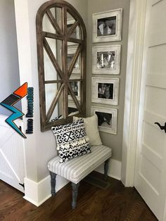 That mirror though! Sherwin Williams SW 7044 Amazing Gray Paint Color - Decoration For Home Amazing Gray Paint, Floating Shelves Kitchen, Floating Shelf Decor, Ikea Ps, Rustic Entryway, Small Entryway Decor, Entry Way Decor Ideas, Small Corner Decor, Kitchen Entryway Ideas