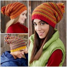 A striped knit hat with a bit of slouch will never go out of style. Check out this free printable pattern.