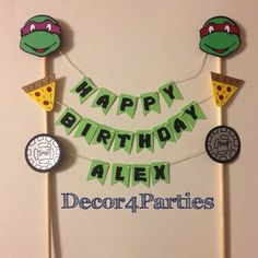 This Ninja Turtle cake banner - topper will be the talk of your party! Very unique and personalized! I make each order upon request so please allow
